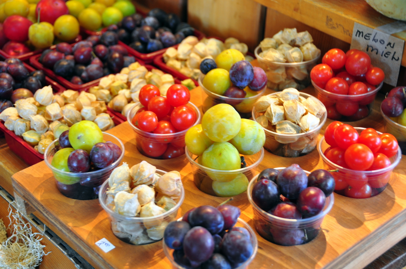 Quebec City Farmers Market - fruit, ground cherries, plums