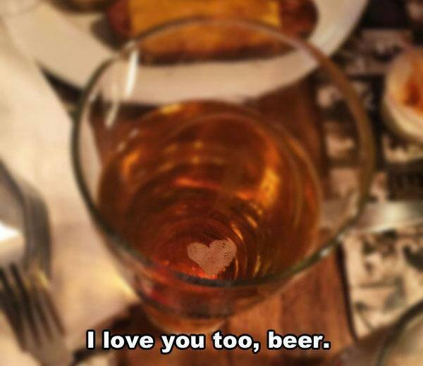 A beer with heart bubbles
