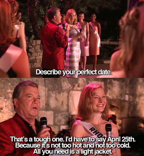 Funny meme of perfect date from Miss Congeniality