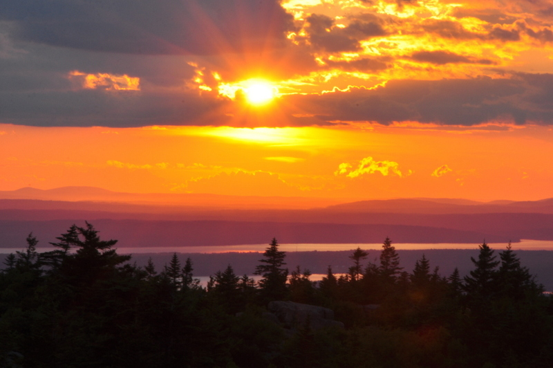 Orange Sunset from Cadillac Mountain in Acadia National Park