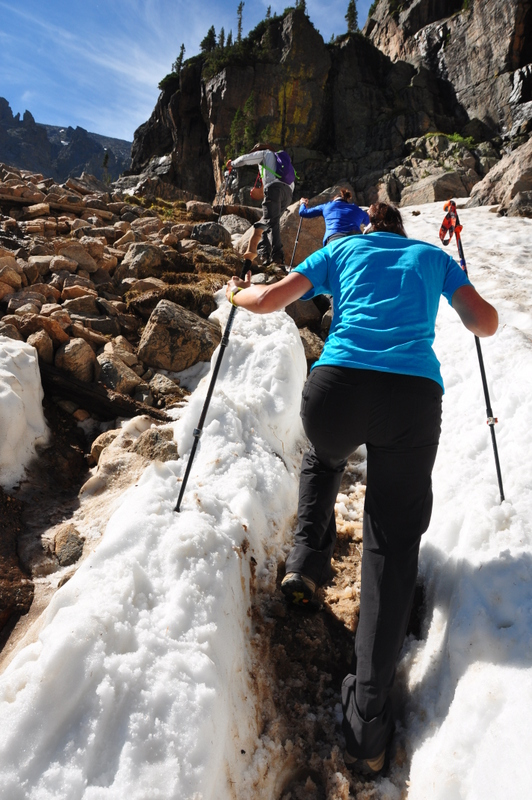Narrow hiking on snow on Timberline Falls Trail in Rocky Mountain National Park