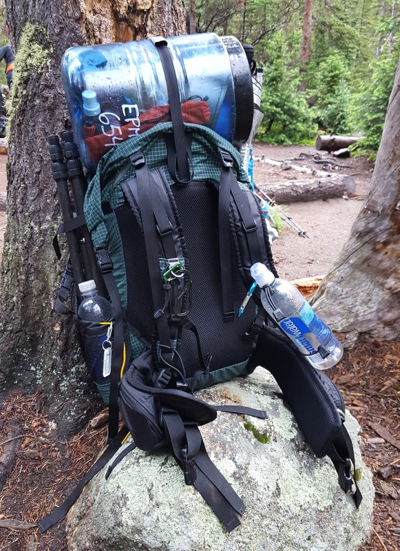 Backpacking backpack - ULA Circuit loaded with a bear canister